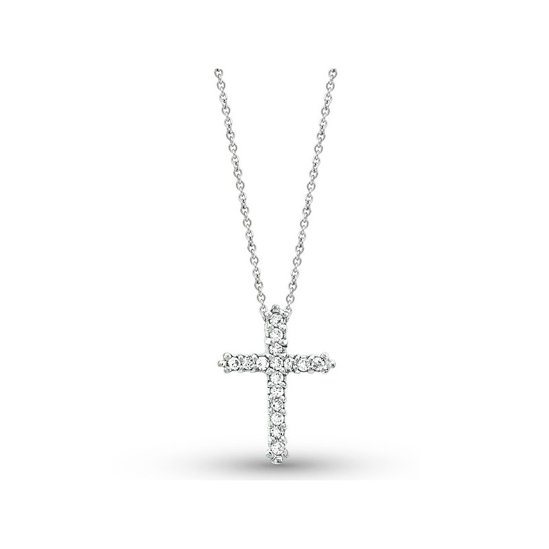 KC Designs Diamond Cross Necklace in 14k White Gold with 16 Diamonds weighing .18ct tw.