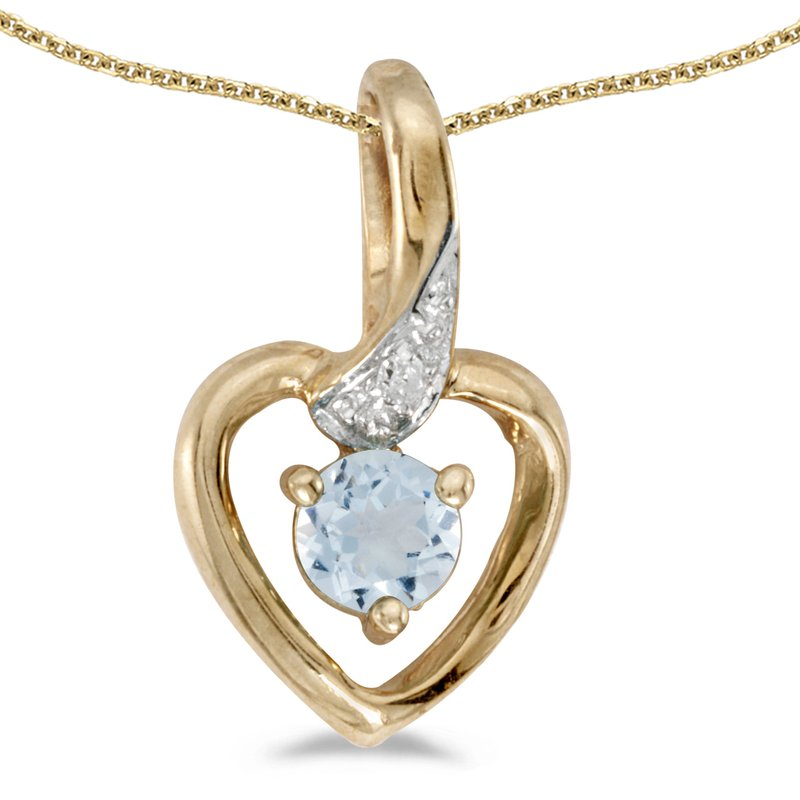 Color Merchants 10k Yellow Gold Round Aquamarine And Diamond Heart Pendant