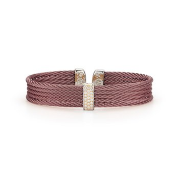 Burgundy Cable Mini Cuff with 18kt Yellow Gold & Diamonds