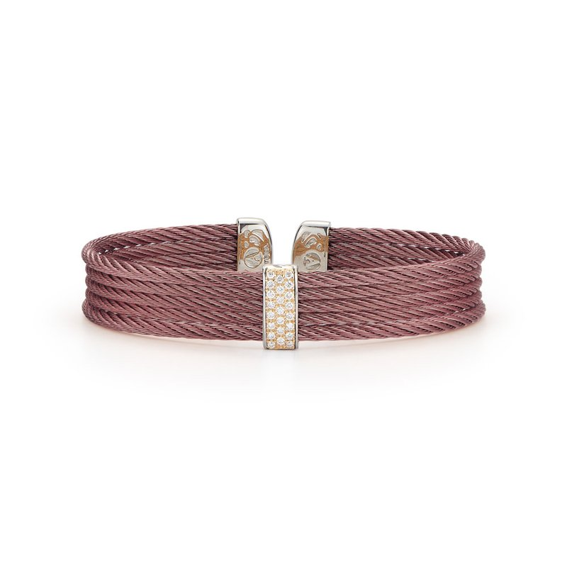 ALOR Burgundy Cable Mini Cuff with 18kt Yellow Gold & Diamonds