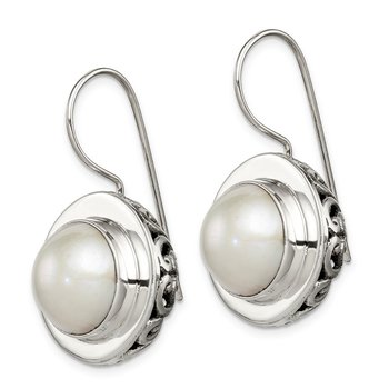 Sterling Silver Polished Antiqued 12-12.5 mm FWC Mabe Pearl Earrings