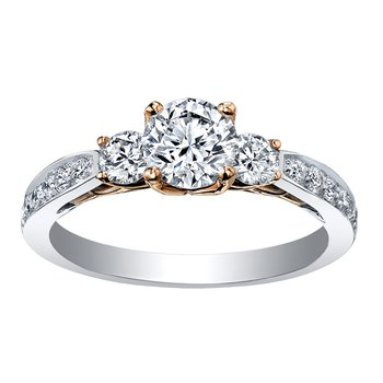 Maple Leaf Diamond Eternal Flames Ladies Three Stone Ring