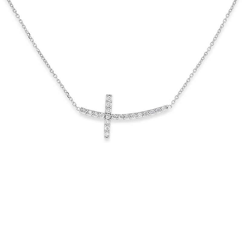KC Designs Diamond Curved Sideways Cross Necklace in 14k White Gold with 20 Diamonds weighing .20ct tw.
