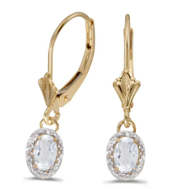 Color Merchants 14k Yellow Gold Oval White Topaz And Diamond Leverback Earrings