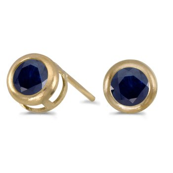 14k Yellow Gold Round Sapphire Bezel Stud Earrings