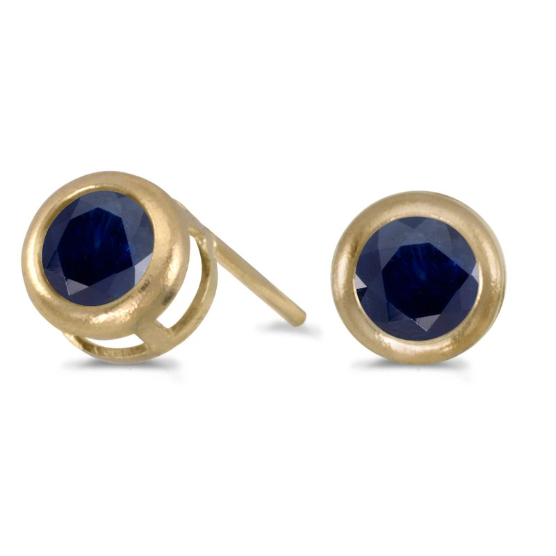 Color Merchants 14k Yellow Gold Round Sapphire Bezel Stud Earrings