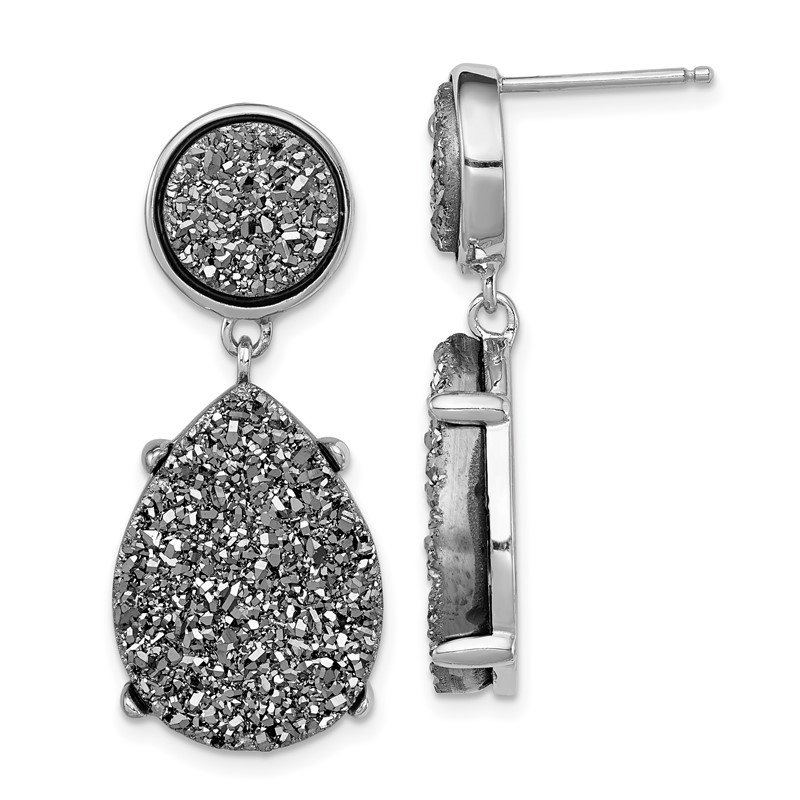 Fine Jewelry by JBD Sterling Silver and Gray Druzy Post Earrings