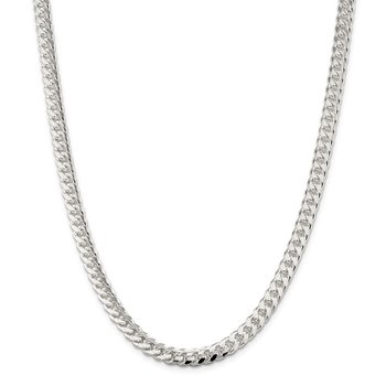 Sterling Silver 7mm Domed w/ Side D/C Curb Chain