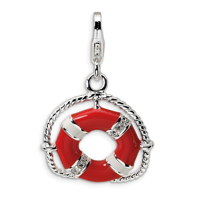 Arizona Diamond Center Collection SS Enamel Swarovski Element Life Preserver w/Lobster Charm