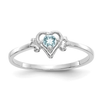 14K White Gold Aquamarine Birthstone Heart Ring