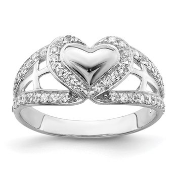 Sterling Silver and CZ Polished Pure Heart Ring