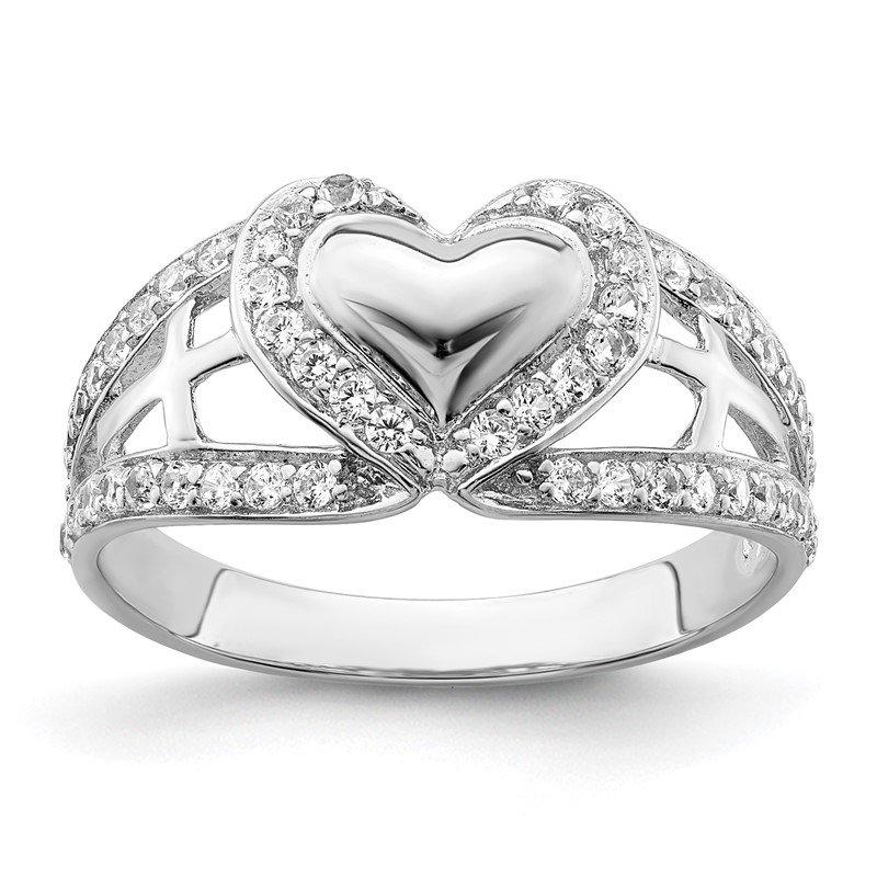 Quality Gold Sterling Silver and CZ Polished Pure Heart Ring