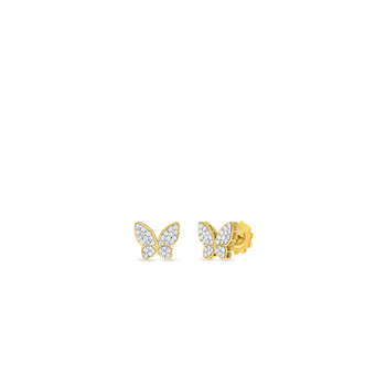 18KT GOLD & DIAMOND PRINCESS BUTTERFLY STUD EARRINGS