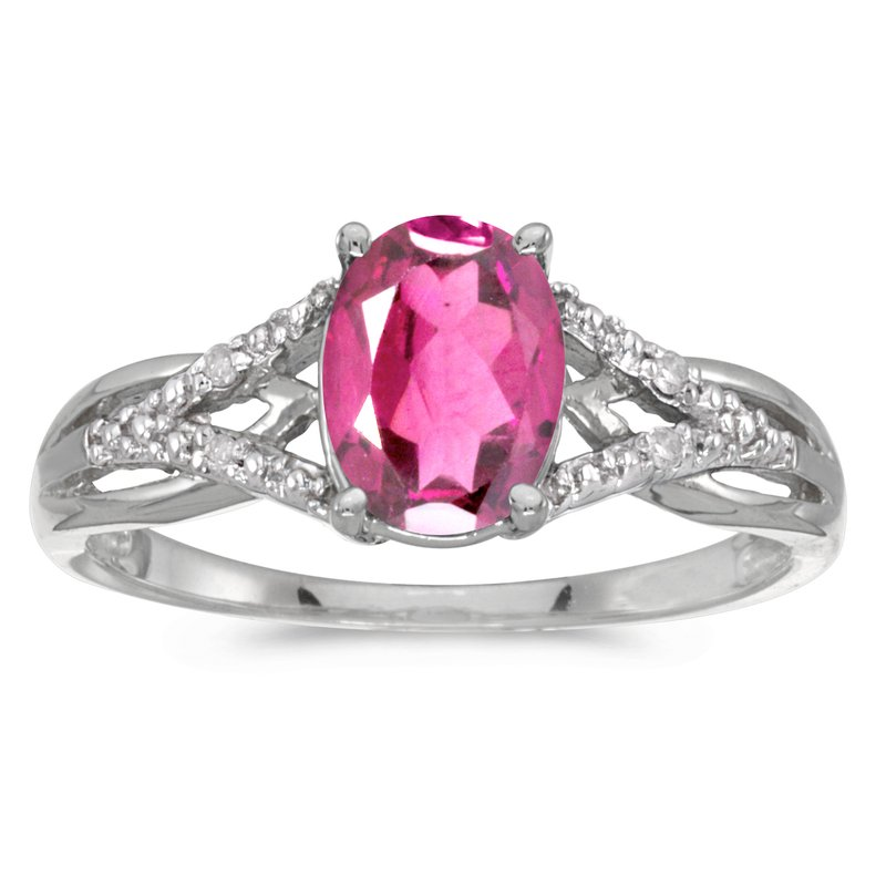 Color Merchants 14k White Gold Oval Pink Topaz And Diamond Ring