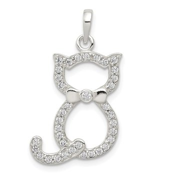 Sterling Silver Polished CZ Cat Pendant