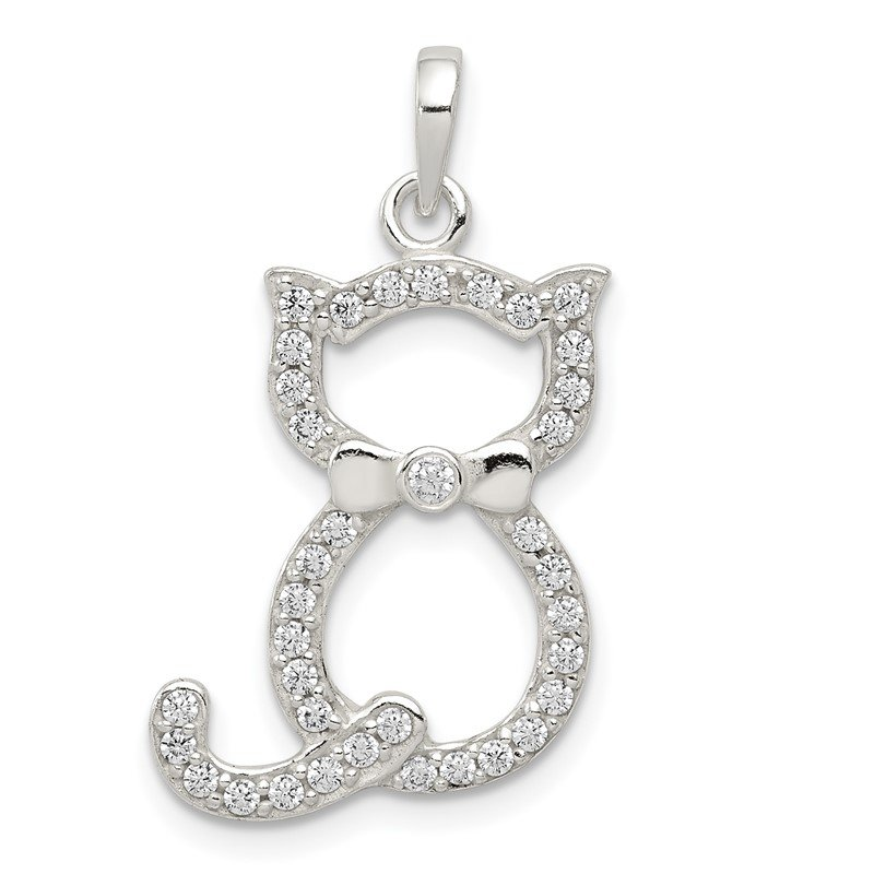 Quality Gold Sterling Silver Polished CZ Cat Pendant