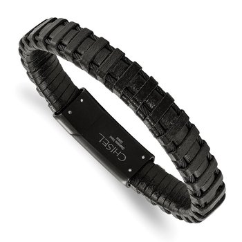 Stainless Steel Polished Black IP-plated Cable and Black Leather Bracelet