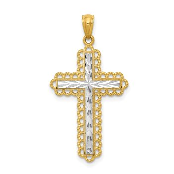 14K Yellow Gold w/Rhodium Diamond Cut Cross Pendant