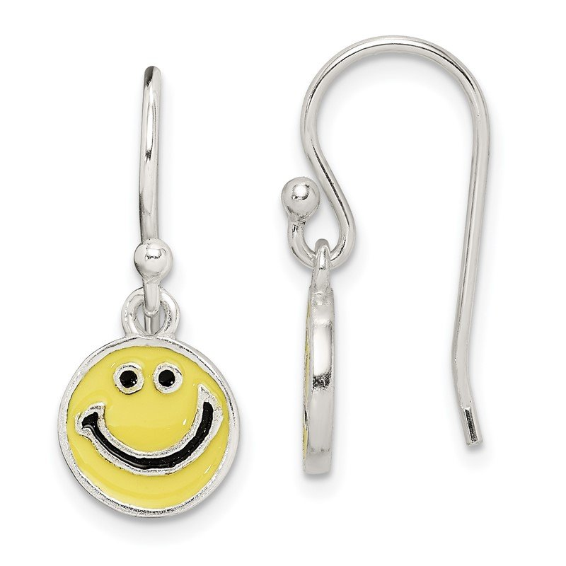 Quality Gold Sterling Silver Enameled Happy Face Dangle Earrings