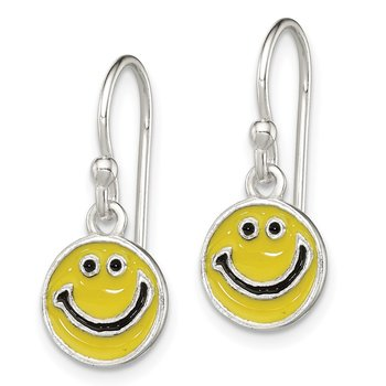 Sterling Silver Enameled Happy Face Dangle Earrings