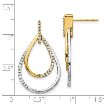 14k Two-tone Diamond Teardrop Earrings