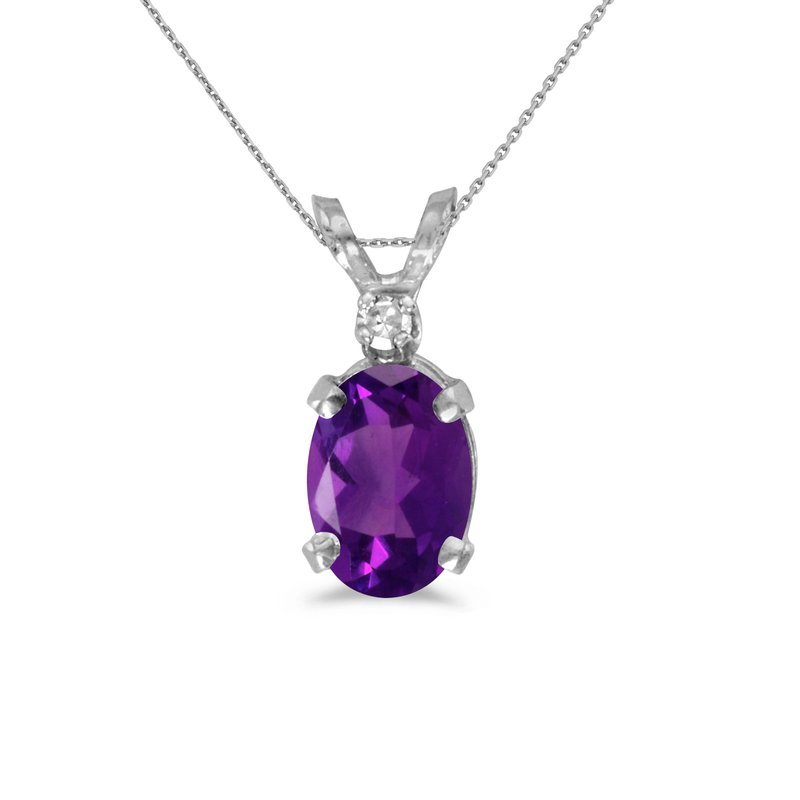 Color Merchants 14k White Gold Oval Amethyst And Diamond Pendant
