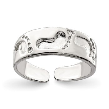 Sterling Silver Foot Print Toe Ring