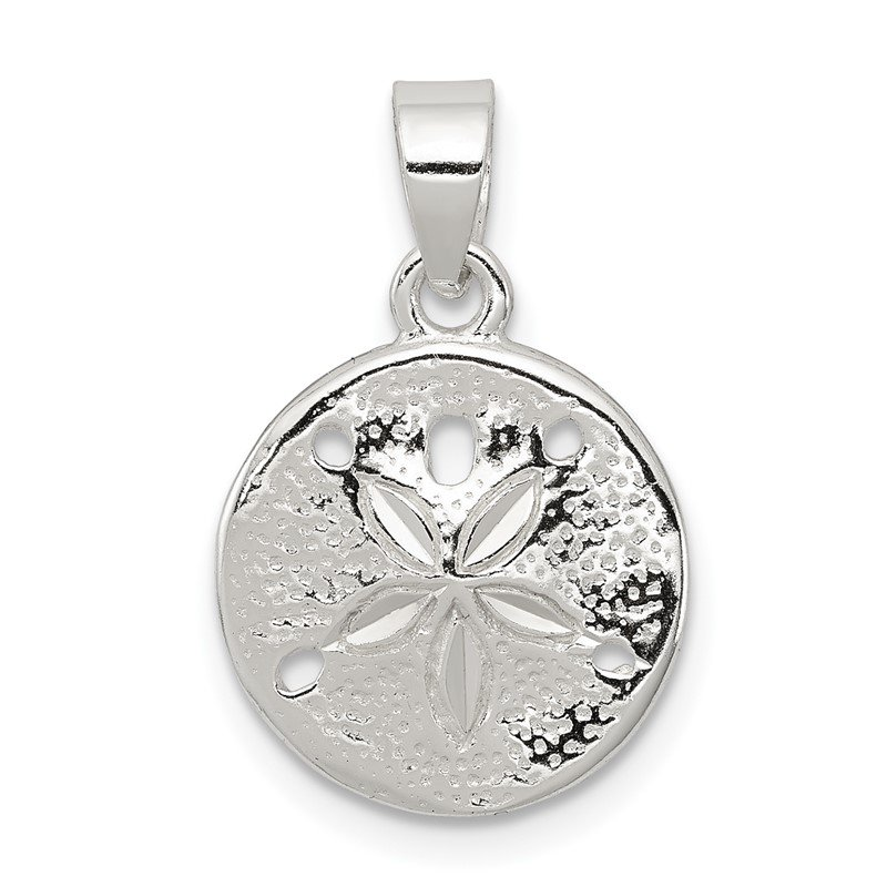 Quality Gold Sterling Silver Polished Sand Dollar Pendant