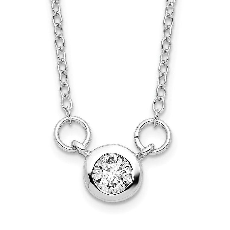 Quality Gold Sterling Silver Rhodium-plated 18in Bezel-set 5mm CZ Necklace