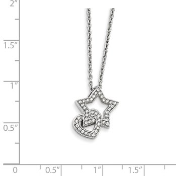 Sterling Silver Brilliant Embers Rhodium-plated CZ Heart and Star Necklace