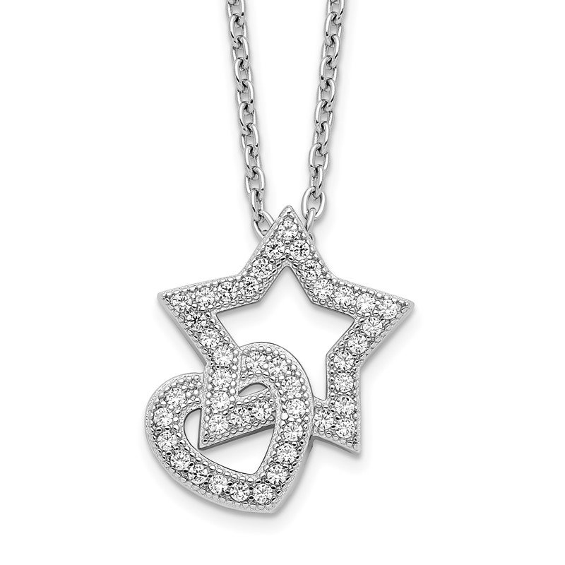 Quality Gold Sterling Silver Brilliant Embers Rhodium-plated CZ Heart and Star Necklace