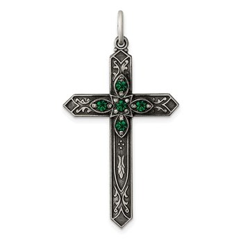 Sterling Silver May Birthstone Cross Pendant