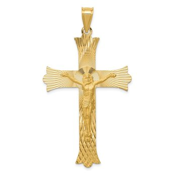 14k Polished, Satin and Diamond-cut Crucifix Cross Pendant