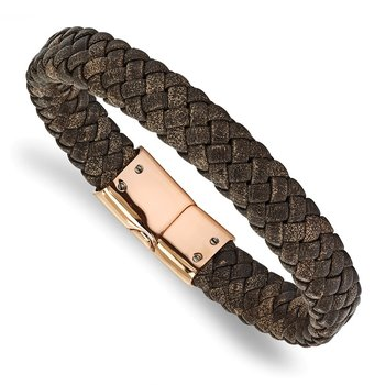 Stainless Steel Polished Rose IP Braided Brown Leather Bracelet