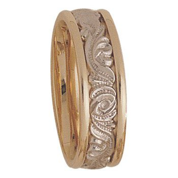 7mm 5150 Mens Two Tone Wedding Band