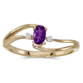 10k Yellow Gold Oval Amethyst And Diamond Wave Ring