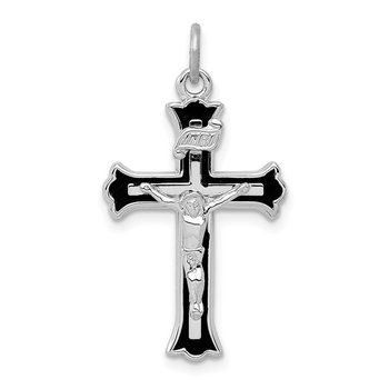Sterling Silver Rhodium-plated Enameled INRI Crucifix Charm