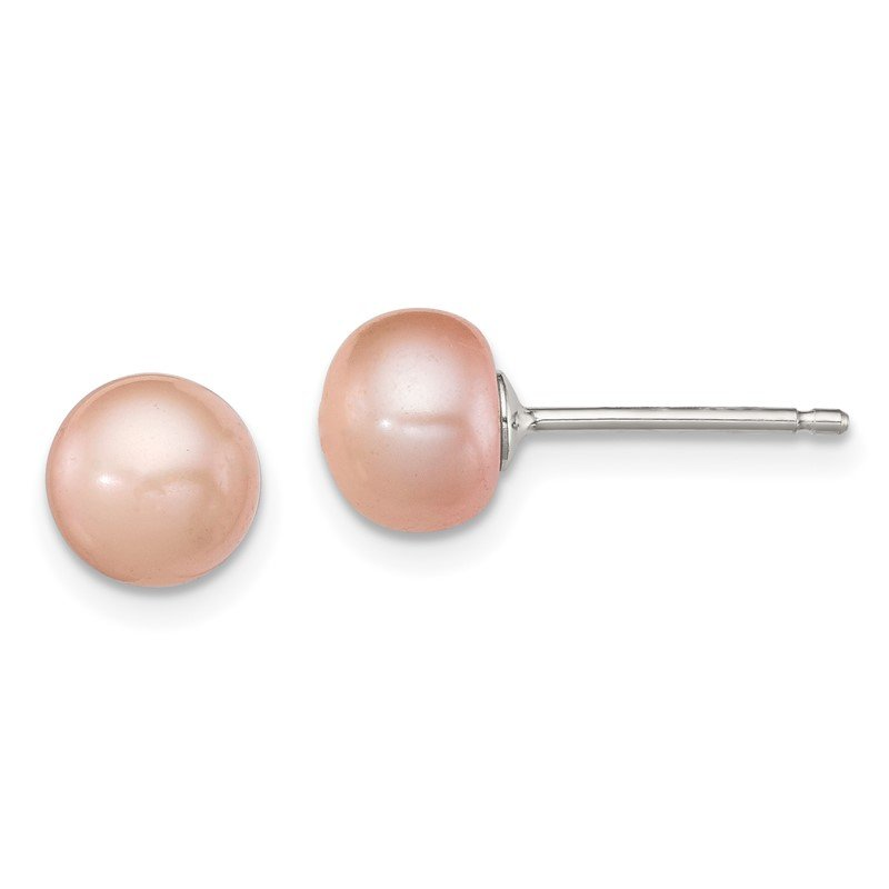 Quality Gold Sterling Silver 6-7mm Rose FW Cultured Button Pearl Earrings