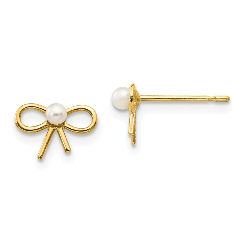 Quality Gold 14k Madi K FW Cultured Pearl Children's Bow Post Earrings