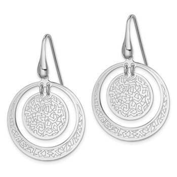 Sterling Silver Rhodium-plated Textured Disc in Circle Earrings
