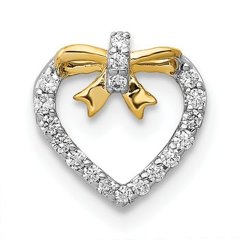 14k White w/ Yellow Rhod Polished 1/10ct. Diamond Heart w/ Bow Chain Slide