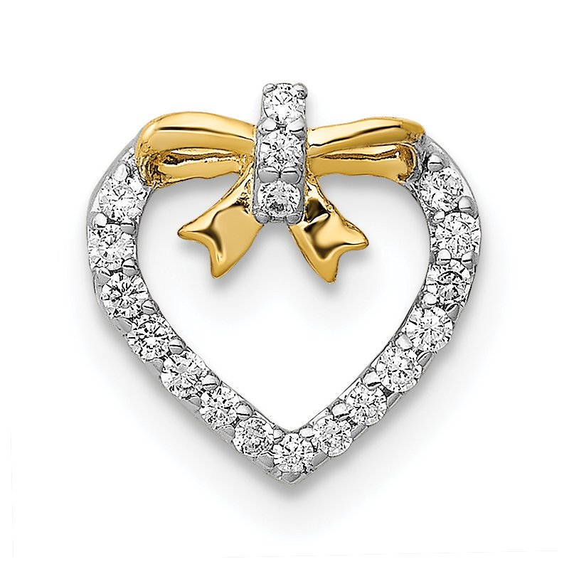Quality Gold 14k White w/ Yellow Rhod Polished 1/10ct. Diamond Heart w/ Bow Chain Slide
