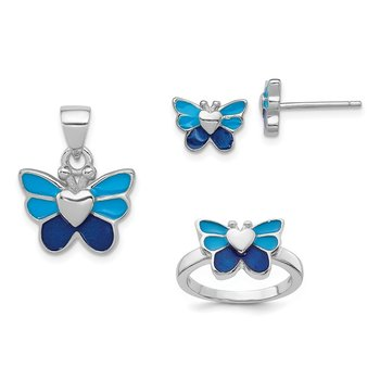 Sterling Silver Rhodium Butterfly Children's Earring, Ring & Pendant Set