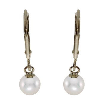 14k Yellow Gold 5mm Quality Freshwater Cultured Pearl Leverback Dangle Earrings