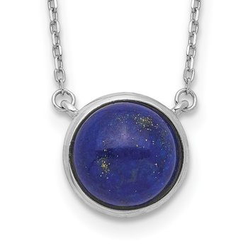 Sterling Silver Rhodium-plated Round Lapis Cabochon Necklace