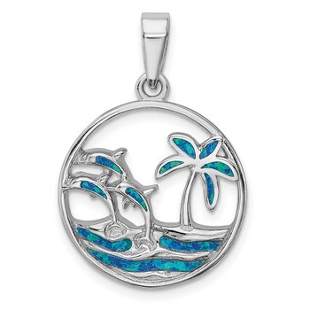Sterling Silver Rhod-plated Blue Created Opal Dolphins Pendant