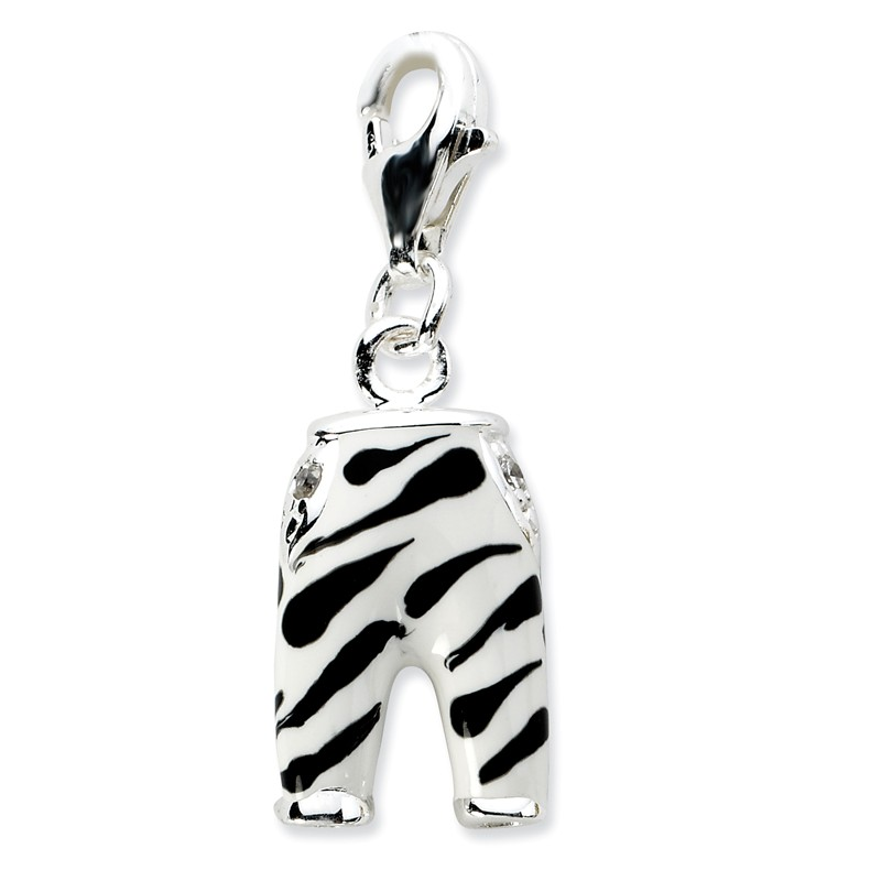 Amore La Vita Sterling Silver and Enamel Rooster Click-On Lobster Clasp Charm Pendant