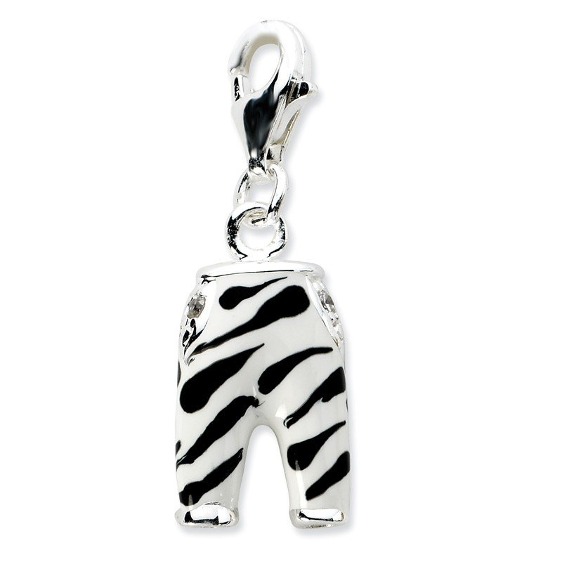 Quality Gold Sterling Silver RH Click-on CZ Enamel Zebra Pants Charm