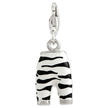 Sterling Silver Click-on CZ Enamel Zebra Pants Charm