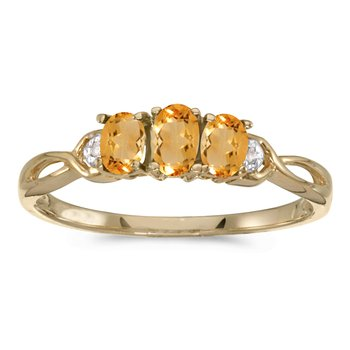10k Yellow Gold Oval Citrine And Diamond Three Stone Ring
